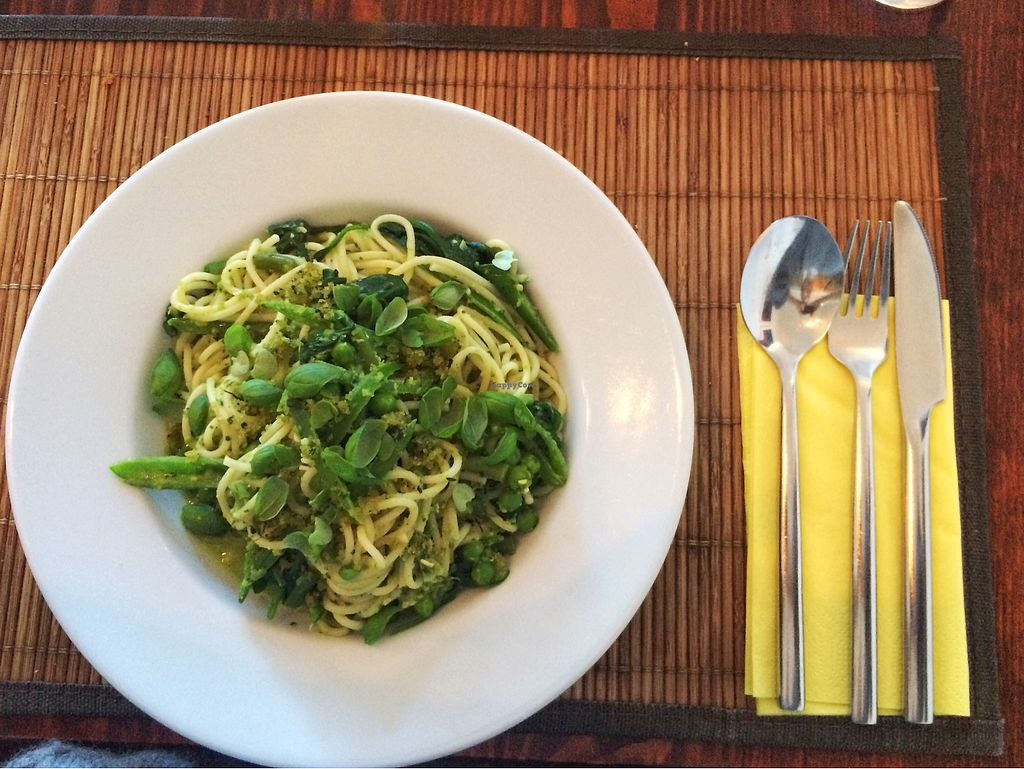 """Photo of The Bean Inn  by <a href=""""/members/profile/SaraBarker"""">SaraBarker</a> <br/>Spaghetti with pesto and green vegetables <br/> July 22, 2017  - <a href='/contact/abuse/image/3106/283408'>Report</a>"""