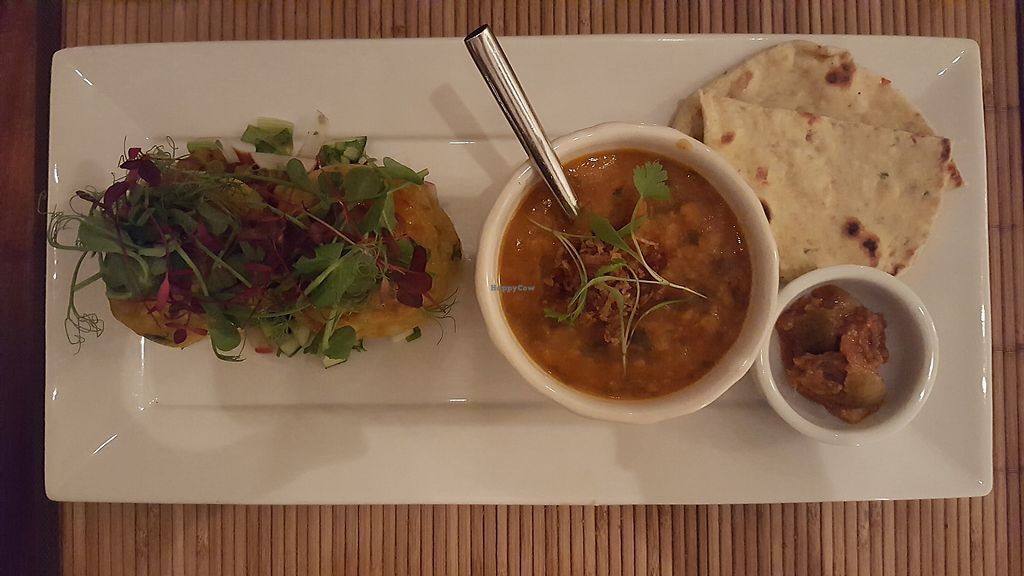 """Photo of The Bean Inn  by <a href=""""/members/profile/VeganAnnaS"""">VeganAnnaS</a> <br/>Potato cakes with tarka dahl  <br/> October 14, 2017  - <a href='/contact/abuse/image/3106/315115'>Report</a>"""