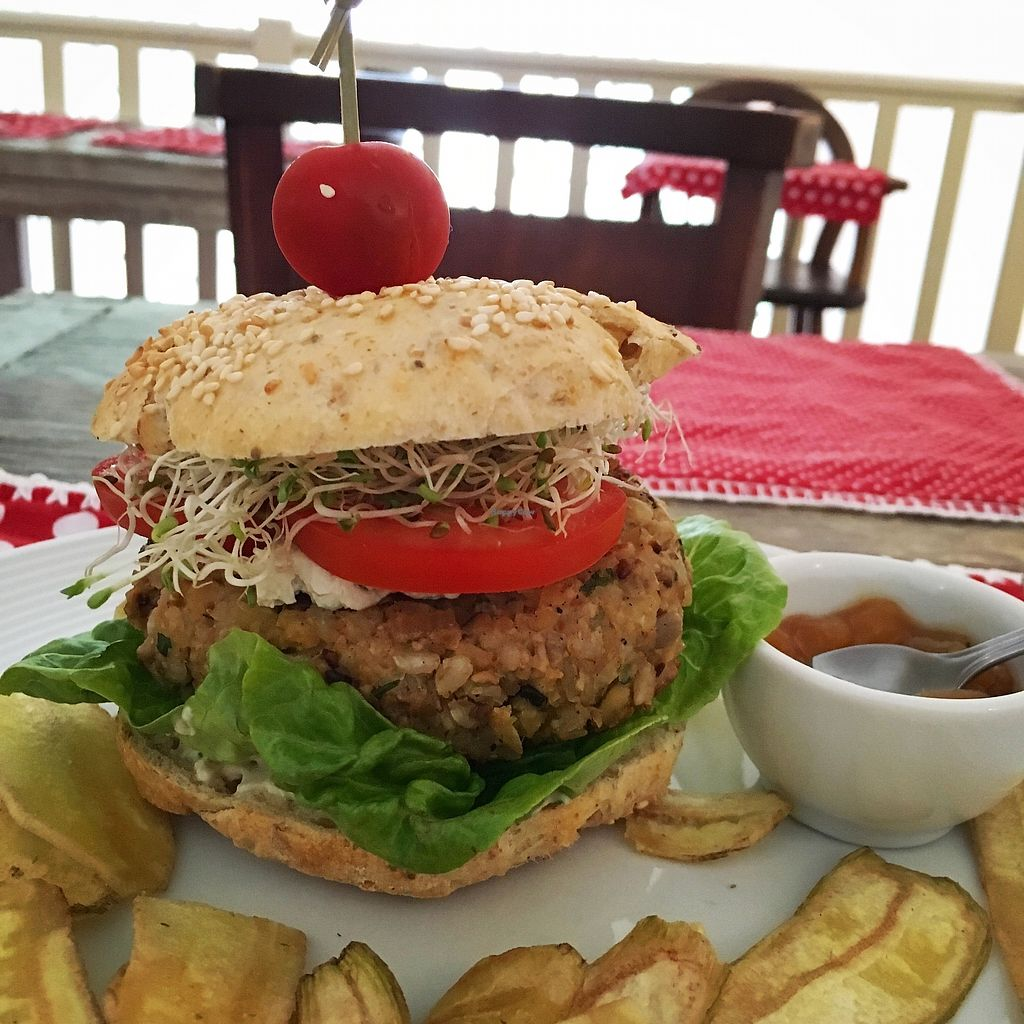 "Photo of La Rouge Bistro  by <a href=""/members/profile/MarinaGalv%C3%A3o"">MarinaGalvão</a> <br/>Burguer Atrevida de Grão de bico e arroz biodinâmico, creme de castanhas broto de alfafa, alface, tomate e chips de banana  <br/> March 27, 2018  - <a href='/contact/abuse/image/31078/376882'>Report</a>"