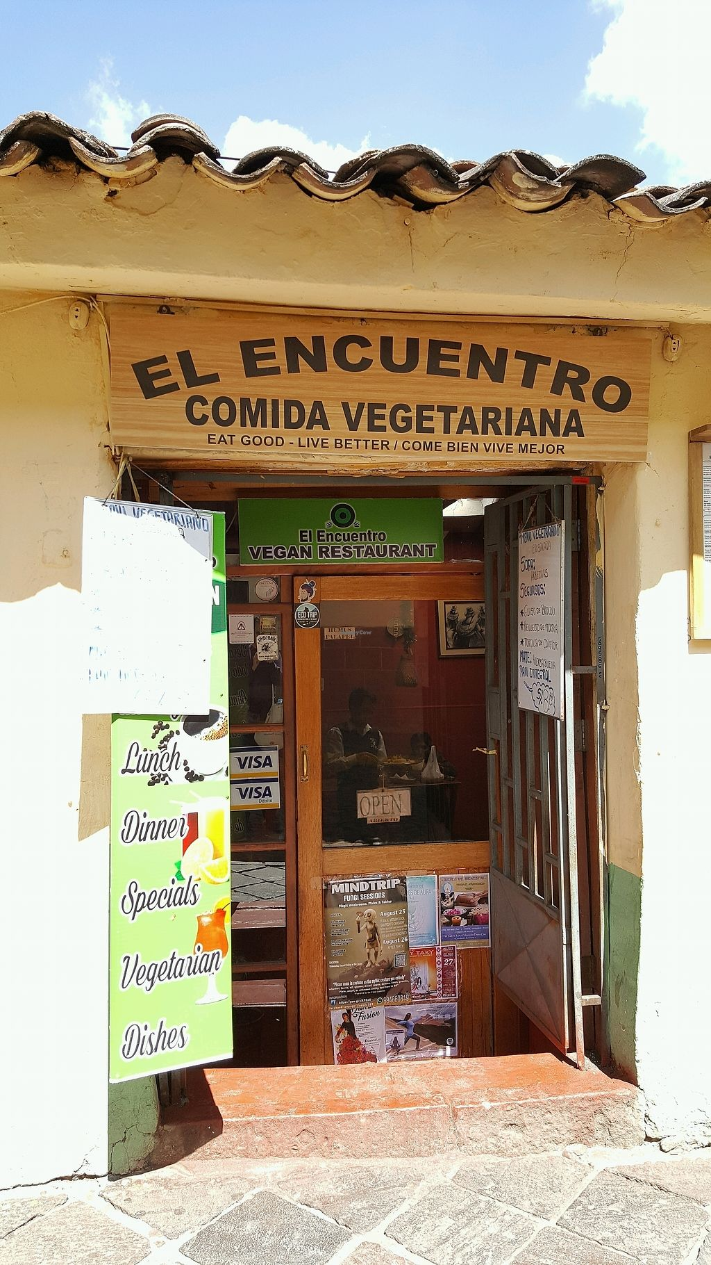 """Photo of El Encuentro - Tigre  by <a href=""""/members/profile/yehadut"""">yehadut</a> <br/>Neither all vegan or all vegetarian, in spite of sign <br/> August 26, 2017  - <a href='/contact/abuse/image/31109/297427'>Report</a>"""