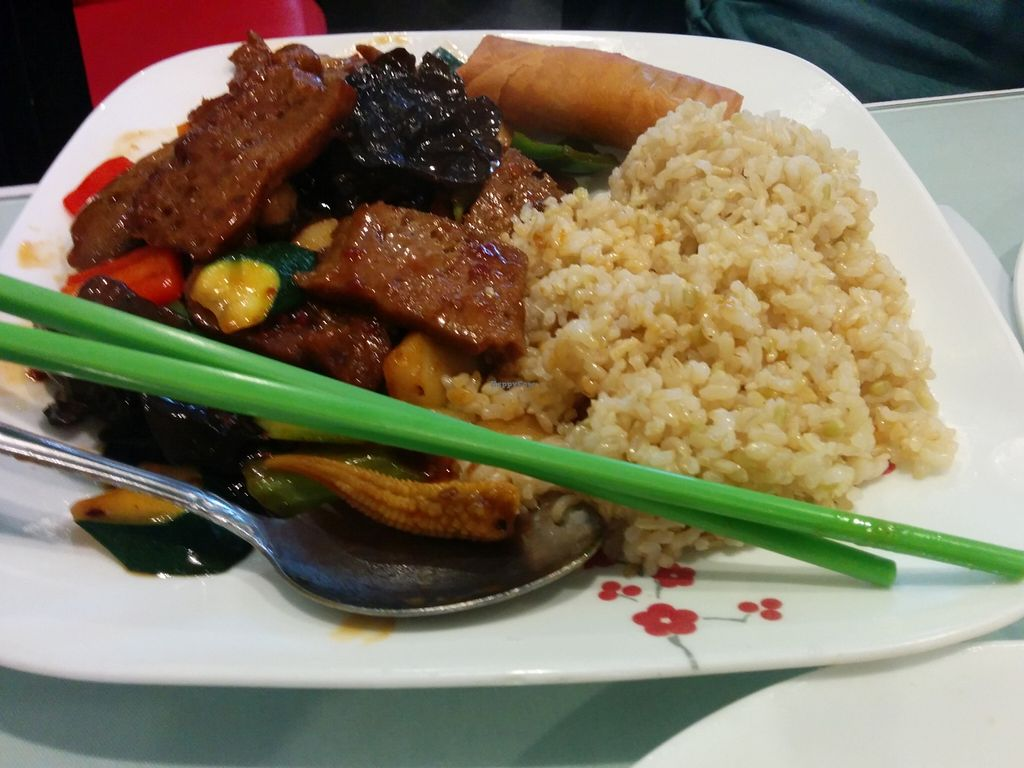 "Photo of Nature Vegetarian Restaurant  by <a href=""/members/profile/MizzB"">MizzB</a> <br/>Lunch combo, beef with black bean sauce, brown rice, spring roll <br/> March 8, 2016  - <a href='/contact/abuse/image/31114/139278'>Report</a>"