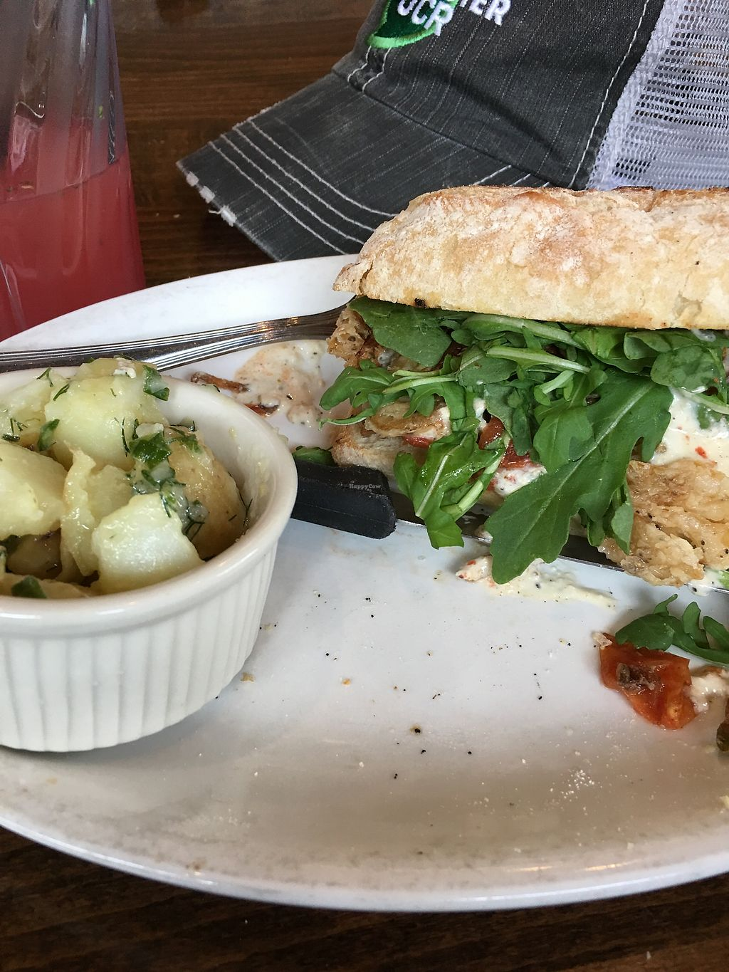 """Photo of Native Foods - Boulder  by <a href=""""/members/profile/NathanOriol"""">NathanOriol</a> <br/>Septal steak sandwich w/ potato salad <br/> September 8, 2017  - <a href='/contact/abuse/image/31144/302170'>Report</a>"""