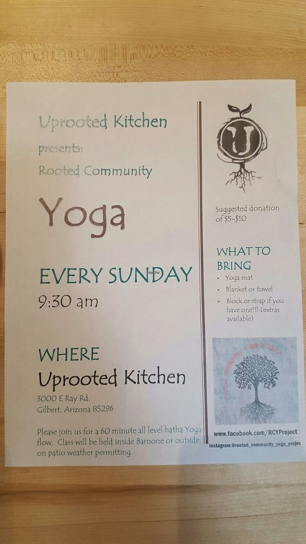 """Photo of The Uprooted Kitchen  by <a href=""""/members/profile/missmaryxjane"""">missmaryxjane</a> <br/>YOGA @ The Uprooted Kitchen on Sundays at 9:30 am <br/> February 25, 2017  - <a href='/contact/abuse/image/31151/230381'>Report</a>"""