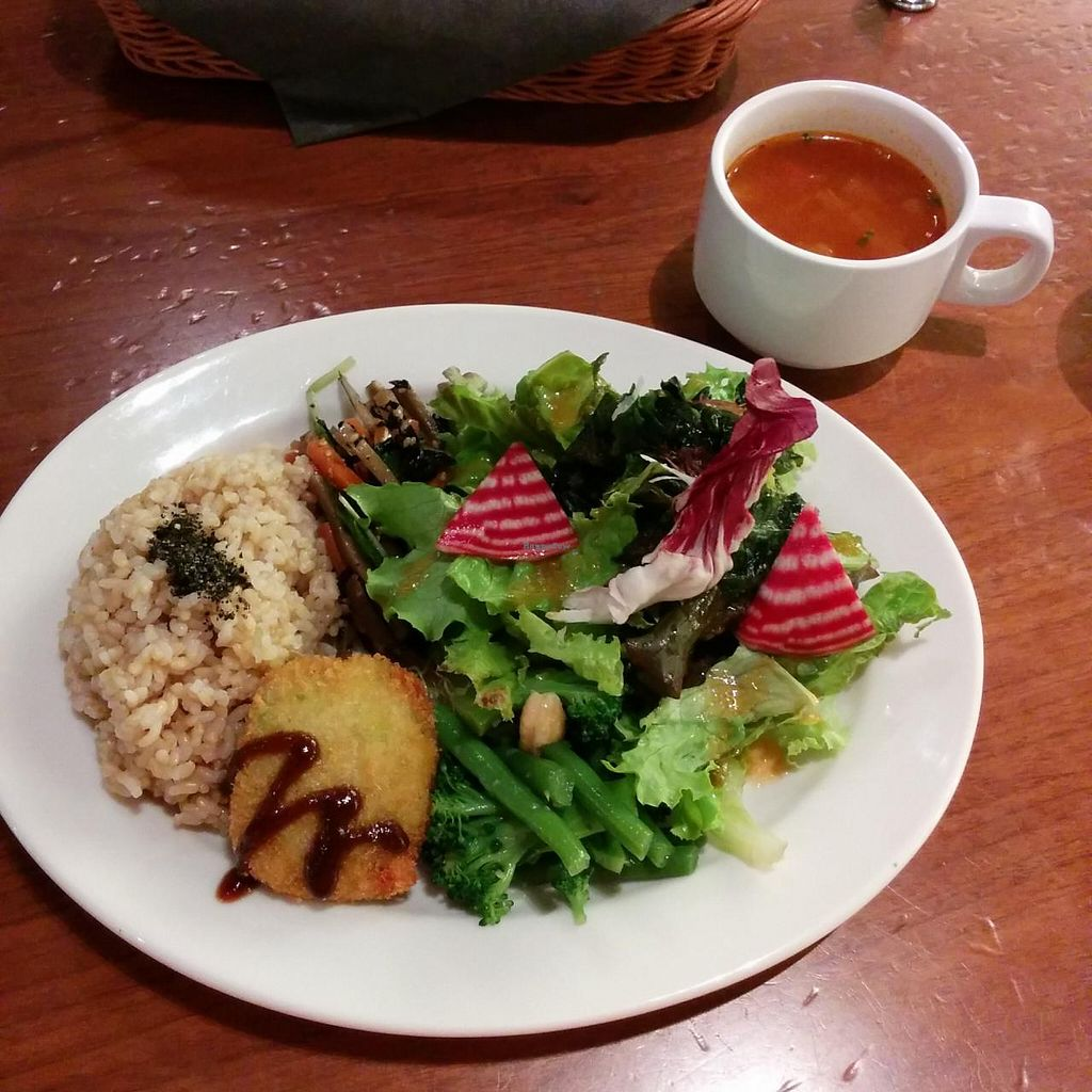 "Photo of Chaya Macrobiotics - Hibiya  by <a href=""/members/profile/VeggieNextDoor"">VeggieNextDoor</a> <br/>Chef special lunch set, including today's specials of Edamame patty and minestrone soup <br/> June 16, 2015  - <a href='/contact/abuse/image/31200/106203'>Report</a>"