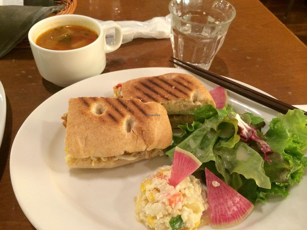 "Photo of Chaya Macrobiotics - Hibiya  by <a href=""/members/profile/Meggie%20and%20Ben"">Meggie and Ben</a> <br/>Vegetable panini set with potato salad, green salad, and soup cup <br/> December 31, 2014  - <a href='/contact/abuse/image/31200/89099'>Report</a>"