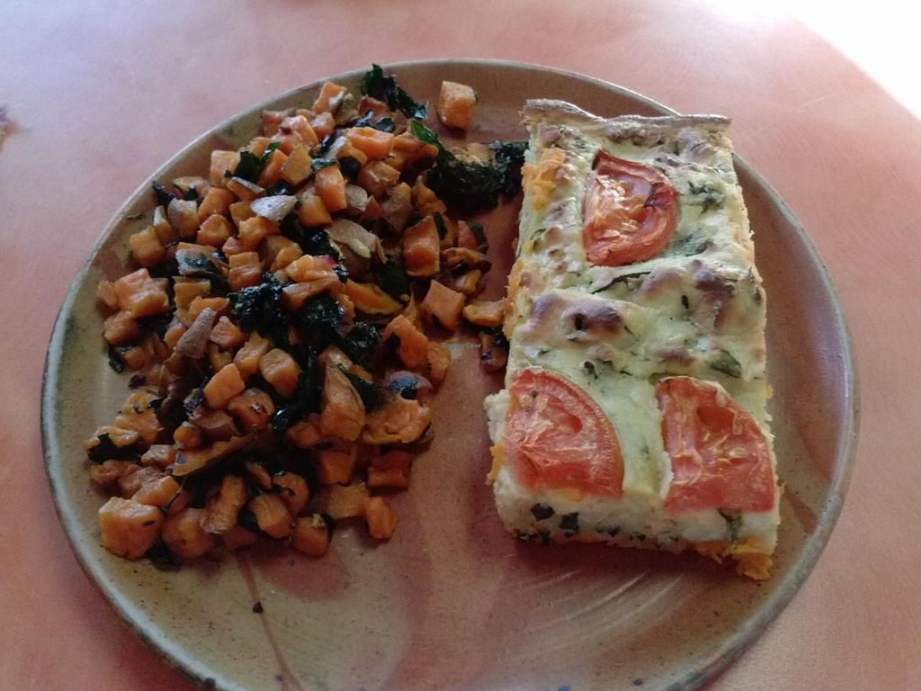 """Photo of Julia's Kitchen  by <a href=""""/members/profile/Sonja%20and%20Dirk"""">Sonja and Dirk</a> <br/>veggie quiche with yam salad <br/> February 16, 2015  - <a href='/contact/abuse/image/31308/93297'>Report</a>"""