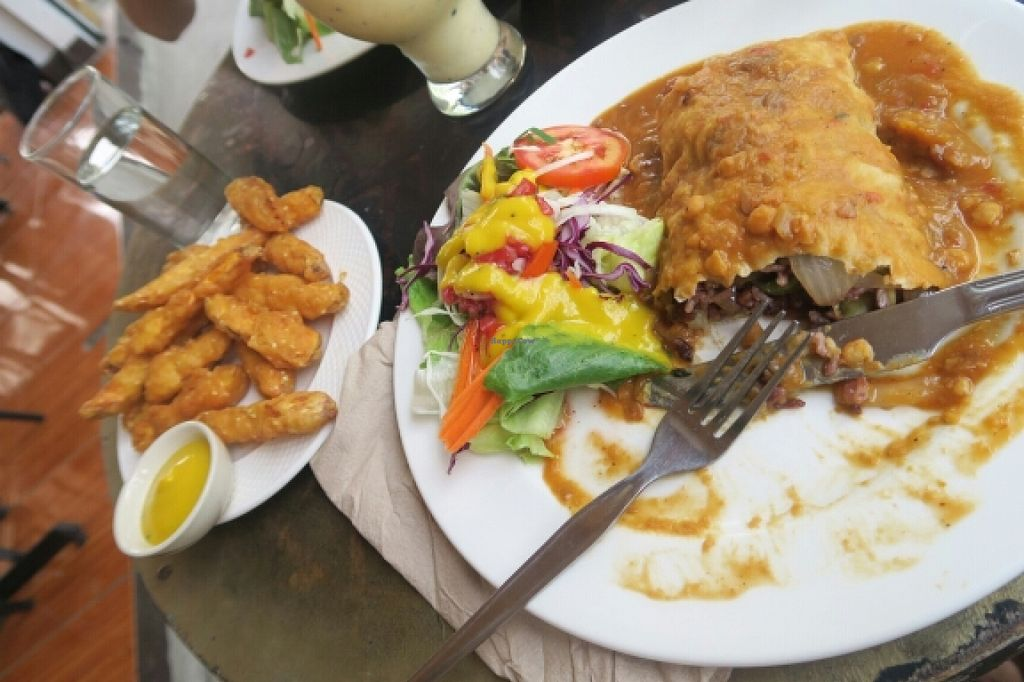 "Photo of Cat House Chiang Mai  by <a href=""/members/profile/freezer966"">freezer966</a> <br/>vegan burrito with sweetpotatoe fries <br/> March 28, 2016  - <a href='/contact/abuse/image/31314/141578'>Report</a>"