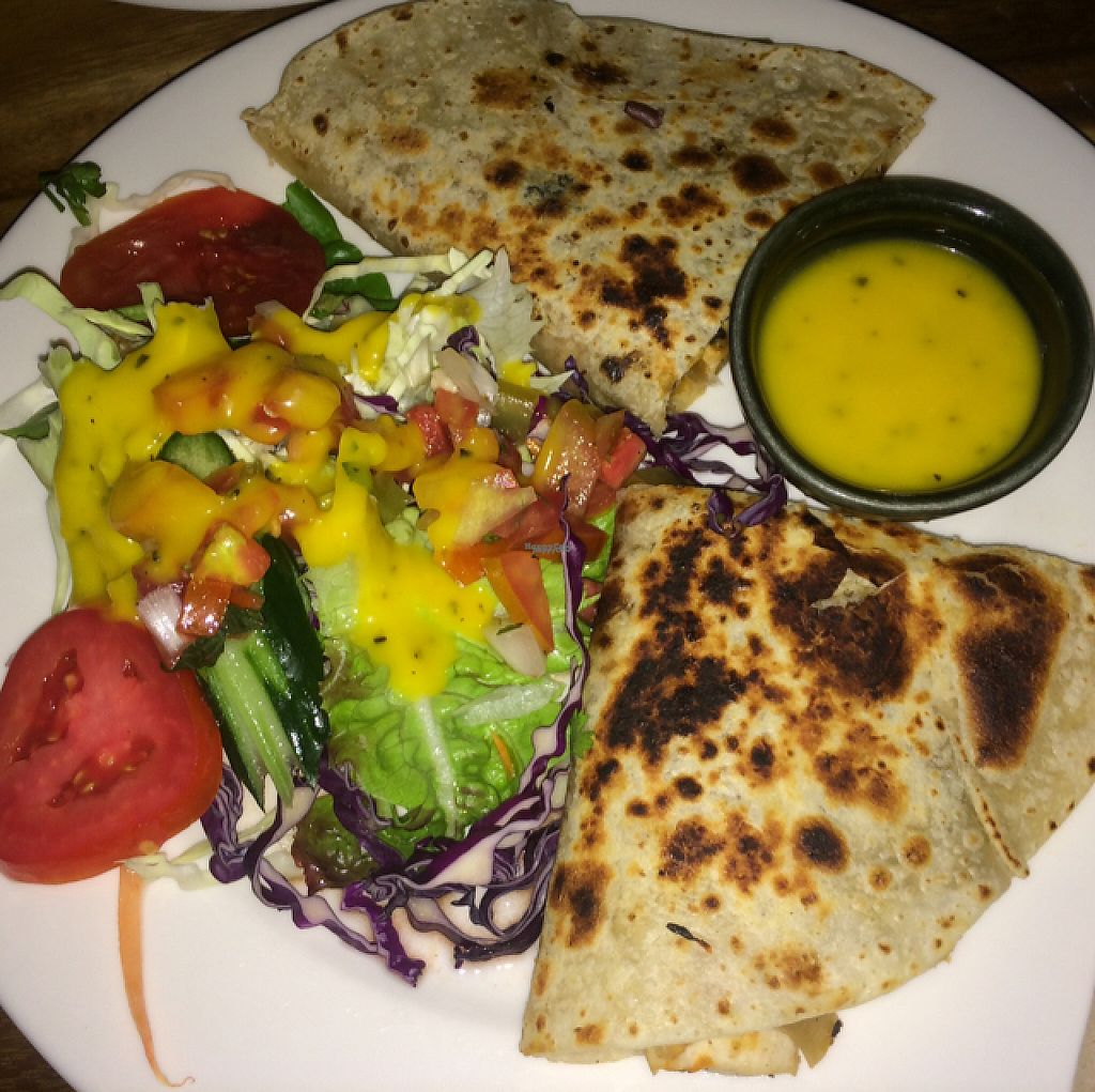 "Photo of Cat House Chiang Mai  by <a href=""/members/profile/FatTonyBMX"">FatTonyBMX</a> <br/>Vegan quesadilla with veggies and tofu. GOOD  <br/> January 17, 2017  - <a href='/contact/abuse/image/31314/212714'>Report</a>"