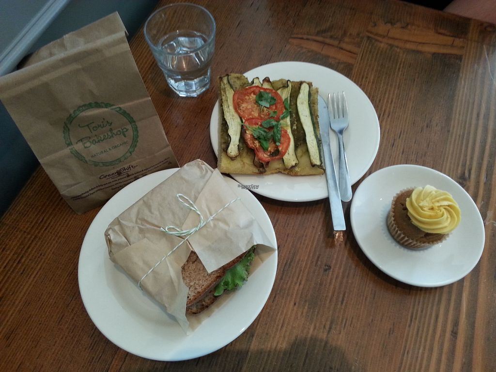 """Photo of Tori's Bakeshop - The Beach  by <a href=""""/members/profile/Vegan%20GiGi"""">Vegan GiGi</a> <br/>Delicious lunch at Tori's. Coconut bacon BLT, focaccio, and lemon cupcake <br/> October 9, 2016  - <a href='/contact/abuse/image/31347/180829'>Report</a>"""