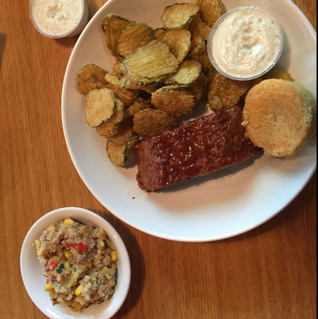 """Photo of Bean Vegan Cuisine  by <a href=""""/members/profile/JoshHyatt"""">JoshHyatt</a> <br/>vegan meatloaf with fried pickles and tater tot casserole  <br/> April 24, 2017  - <a href='/contact/abuse/image/31397/251867'>Report</a>"""
