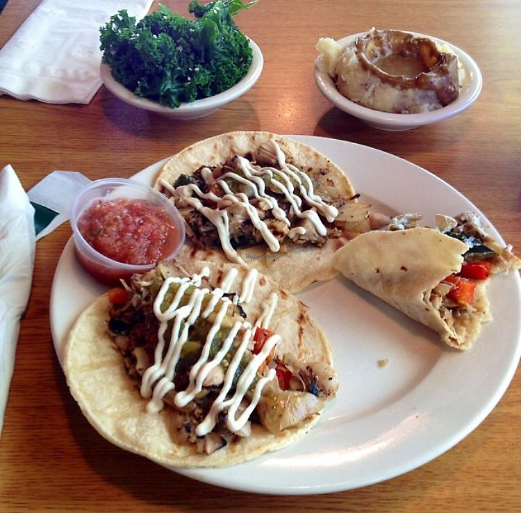 """Photo of Bean Vegan Cuisine  by <a href=""""/members/profile/KellyMcDonald"""">KellyMcDonald</a> <br/>Tacos with steamed kale and mashed potato & gravy sides <br/> January 4, 2018  - <a href='/contact/abuse/image/31397/342768'>Report</a>"""