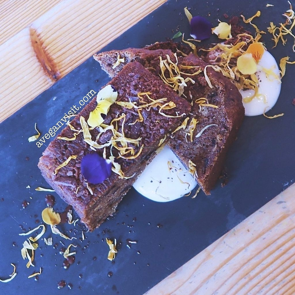 """Photo of Wild Food Cafe  by <a href=""""/members/profile/AVeganVisit.com"""">AVeganVisit.com</a> <br/>Walnut and date banana bread with almond vanilla custard <br/> February 27, 2018  - <a href='/contact/abuse/image/31440/364436'>Report</a>"""