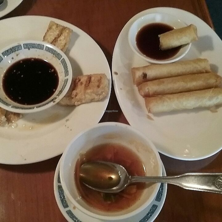 """Photo of Pure City  by <a href=""""/members/profile/RunsonVeggies"""">RunsonVeggies</a> <br/>fried tofu, Hot & Sour soup, Spring roll YUMMY stuff  <br/> June 21, 2017  - <a href='/contact/abuse/image/3145/271978'>Report</a>"""