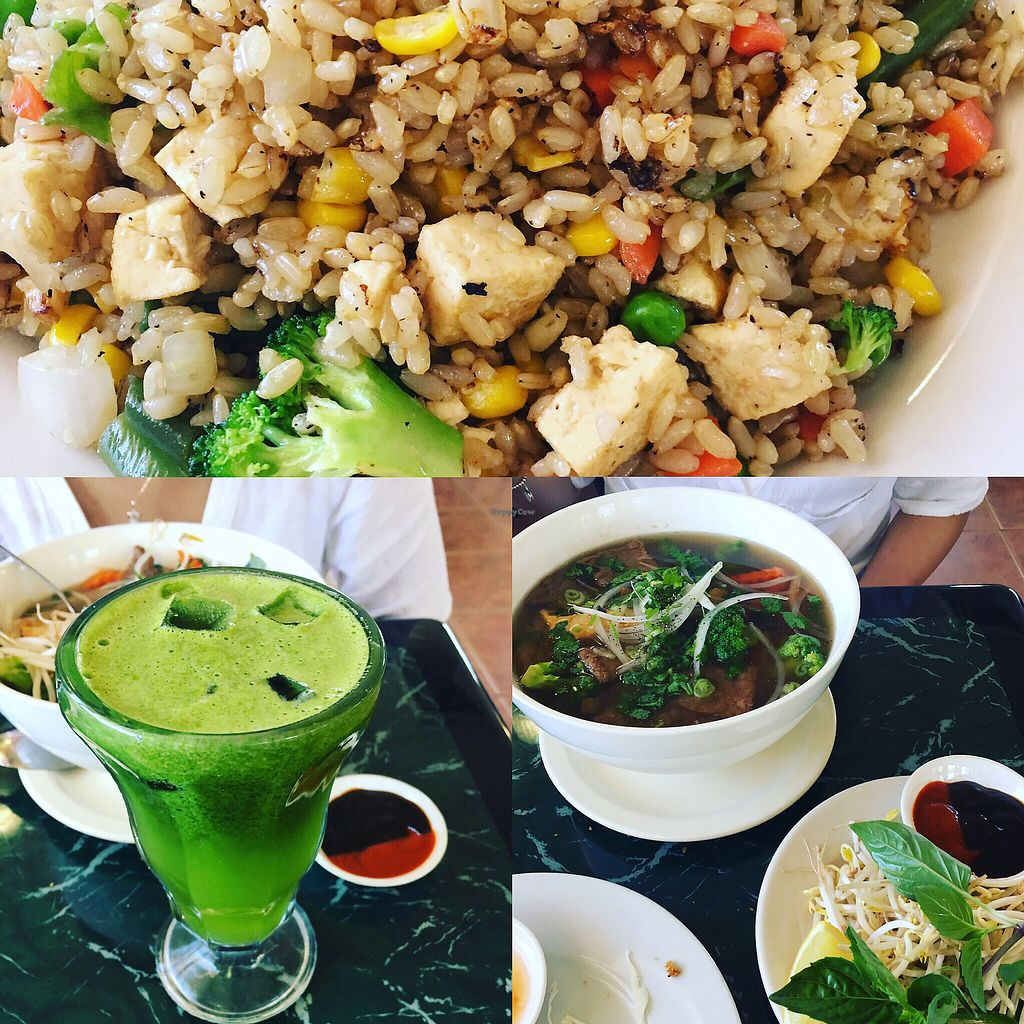 """Photo of Lotus Vegan Restaurant  by <a href=""""/members/profile/FranciellyVaz"""">FranciellyVaz</a> <br/>fried rice , green goddess juice and the pho soup  <br/> July 6, 2017  - <a href='/contact/abuse/image/31533/277208'>Report</a>"""