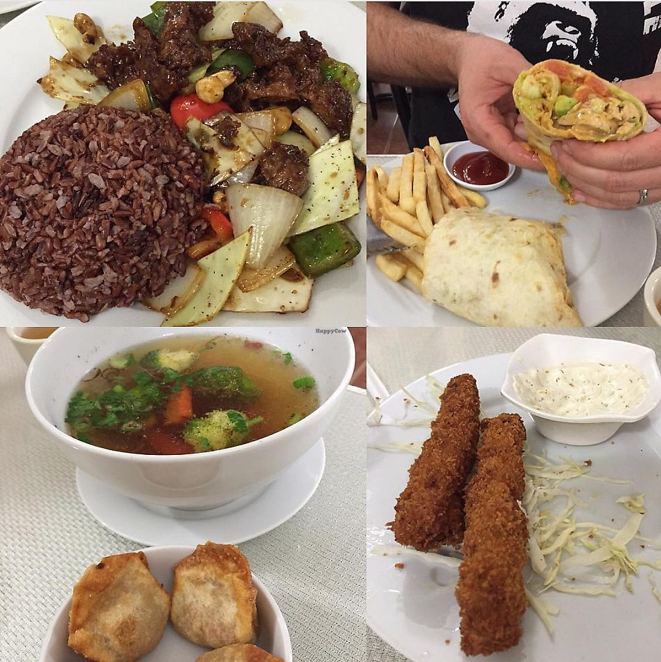 """Photo of Lotus Vegan Restaurant  by <a href=""""/members/profile/Jamie9705"""">Jamie9705</a> <br/>Kung pao beef, a wrap, wonton soup and cheese sticks! <br/> September 14, 2017  - <a href='/contact/abuse/image/31533/304269'>Report</a>"""