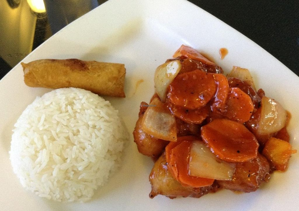 """Photo of Lotus Vegan Restaurant  by <a href=""""/members/profile/Julie%20R"""">Julie R</a> <br/>OMG.  The sweet and sour tofu.  SO DELICIOUS.  This is the lunch portion and included the rice, soup, and spring roll - all for $5.99 <br/> March 4, 2014  - <a href='/contact/abuse/image/31533/65307'>Report</a>"""
