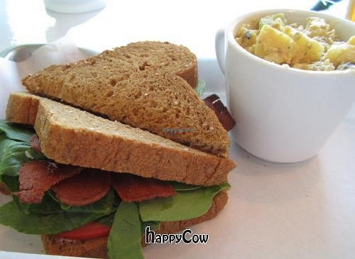 """Photo of CLOSED: Mint Tulip Vegan Cafe  by <a href=""""/members/profile/Julie%20R"""">Julie R</a> <br/>BLT with side of potato salad <br/> October 24, 2012  - <a href='/contact/abuse/image/3162/39414'>Report</a>"""