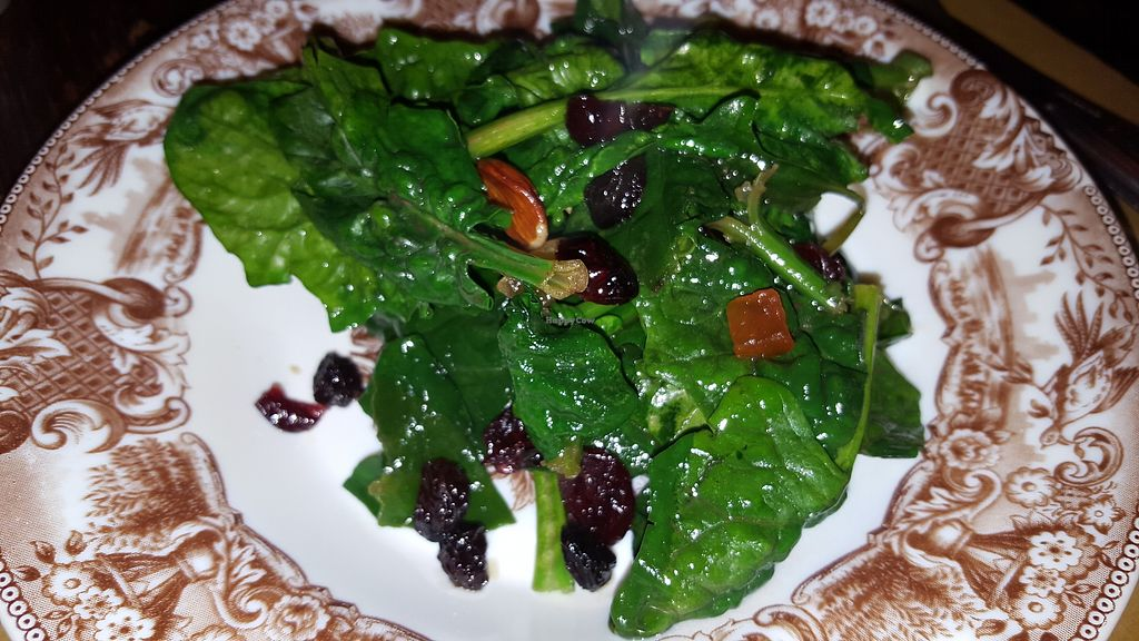 """Photo of Terra Ristorante Vegetariano  by <a href=""""/members/profile/spunkiVeg"""">spunkiVeg</a> <br/> warm spinach with fried fruit and nuts <br/> December 20, 2017  - <a href='/contact/abuse/image/31654/337483'>Report</a>"""