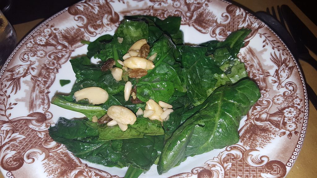 """Photo of Terra Ristorante Vegetariano  by <a href=""""/members/profile/spunkiVeg"""">spunkiVeg</a> <br/>Warm spinach <br/> December 20, 2017  - <a href='/contact/abuse/image/31654/337489'>Report</a>"""