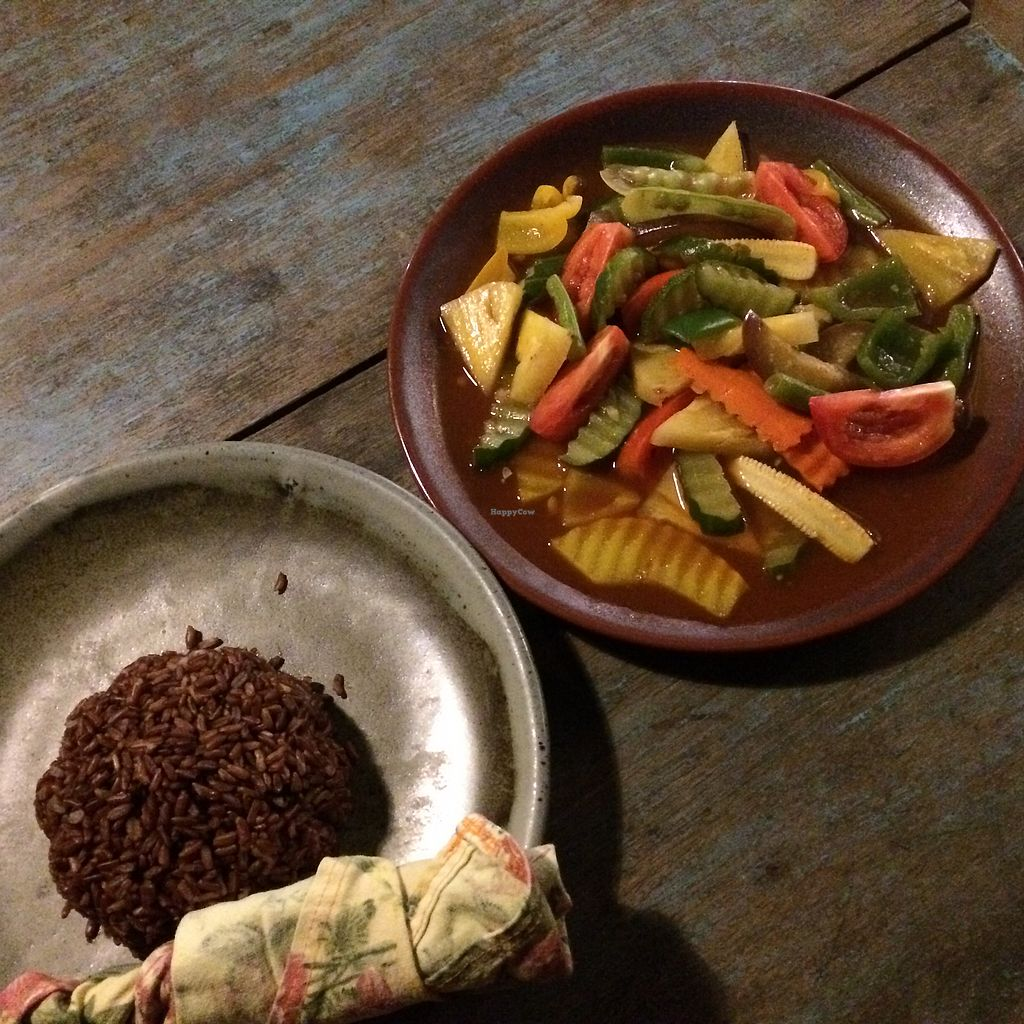 """Photo of Imm Aim Vegetarian and Bike Cafe  by <a href=""""/members/profile/evoontoast"""">evoontoast</a> <br/>stir fried mixed veggies and pineapple in tamarind sauce <br/> August 25, 2017  - <a href='/contact/abuse/image/31687/296946'>Report</a>"""