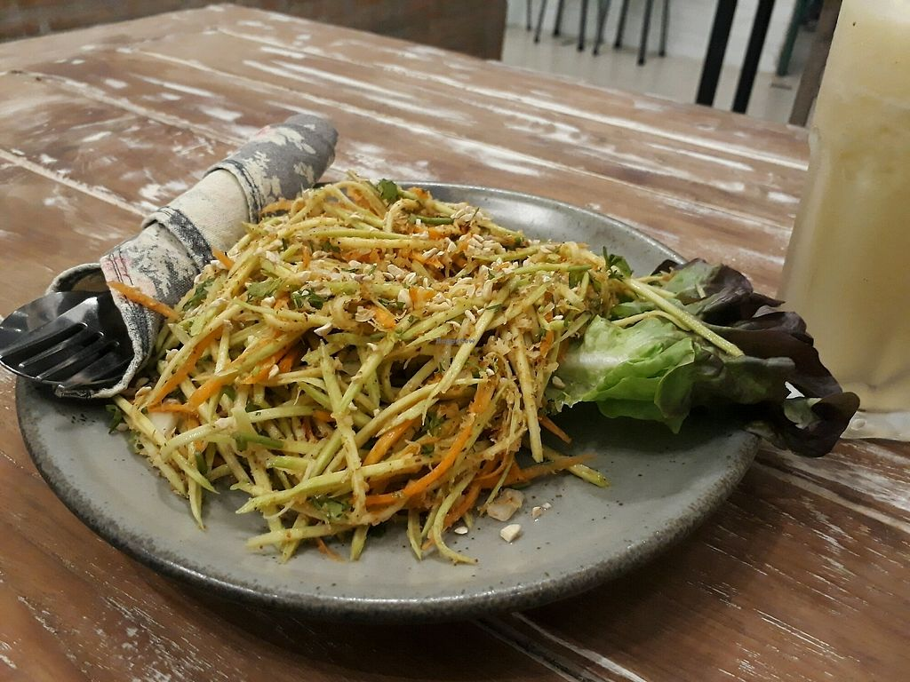 """Photo of Imm Aim Vegetarian and Bike Cafe  by <a href=""""/members/profile/LilacHippy"""">LilacHippy</a> <br/>Delicious raw mango salad <br/> March 2, 2018  - <a href='/contact/abuse/image/31687/365814'>Report</a>"""