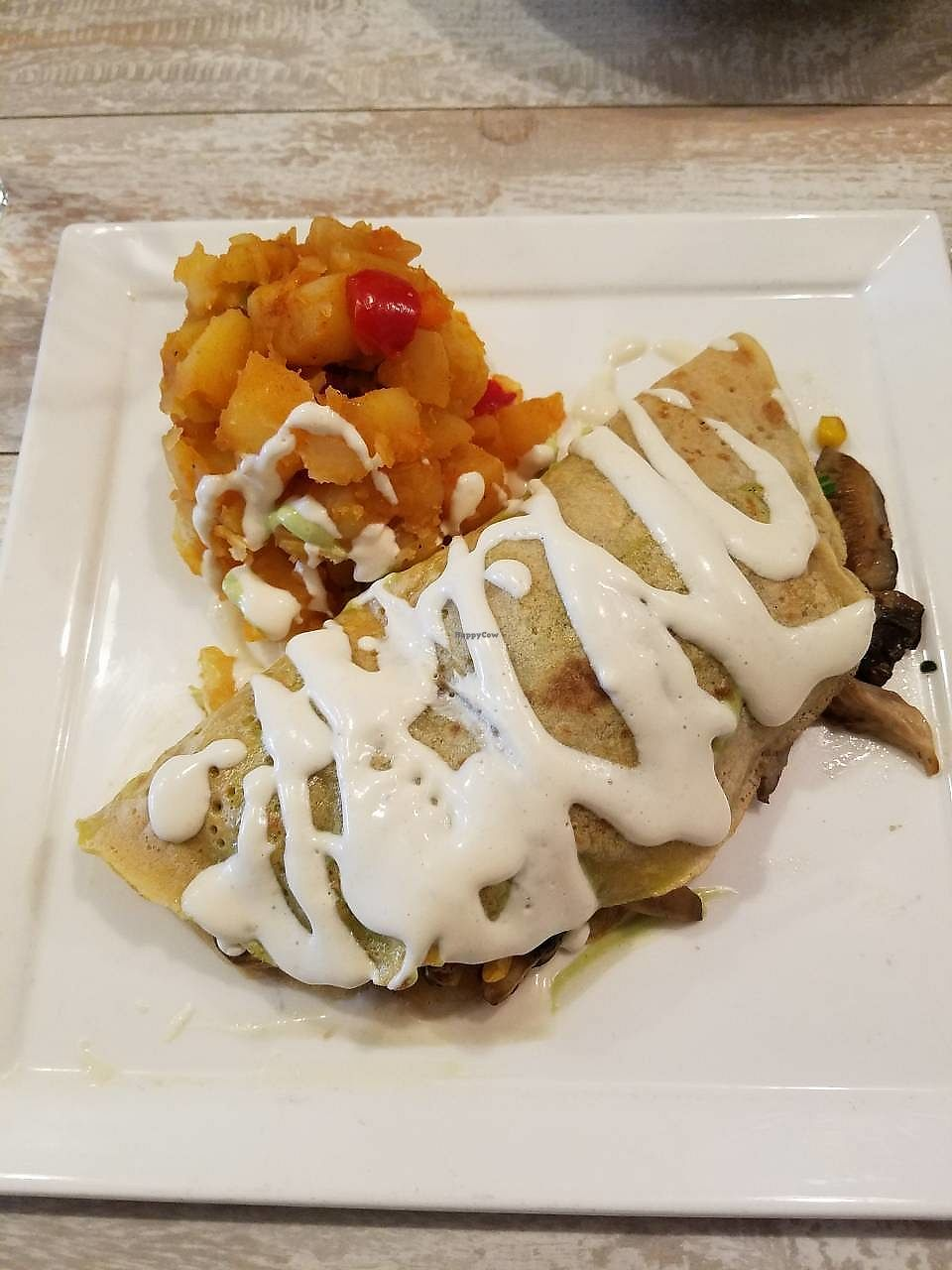 """Photo of Candle Cafe West  by <a href=""""/members/profile/Katyathevegan"""">Katyathevegan</a> <br/>Savory Crepe with home fries-- Finally! A vegan crepe! <br/> October 16, 2017  - <a href='/contact/abuse/image/31715/315726'>Report</a>"""