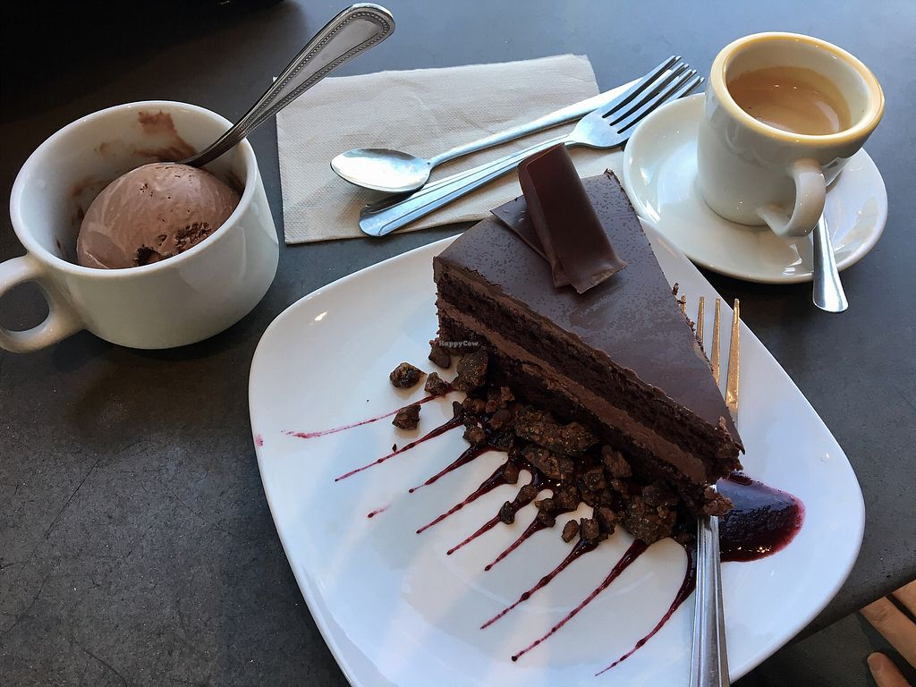 "Photo of French Broad Chocolate Lounge  by <a href=""/members/profile/Thepennsyltuckyvegan"">Thepennsyltuckyvegan</a> <br/>Chocolate cake, ice cream and espresso <br/> March 15, 2018  - <a href='/contact/abuse/image/31755/371136'>Report</a>"