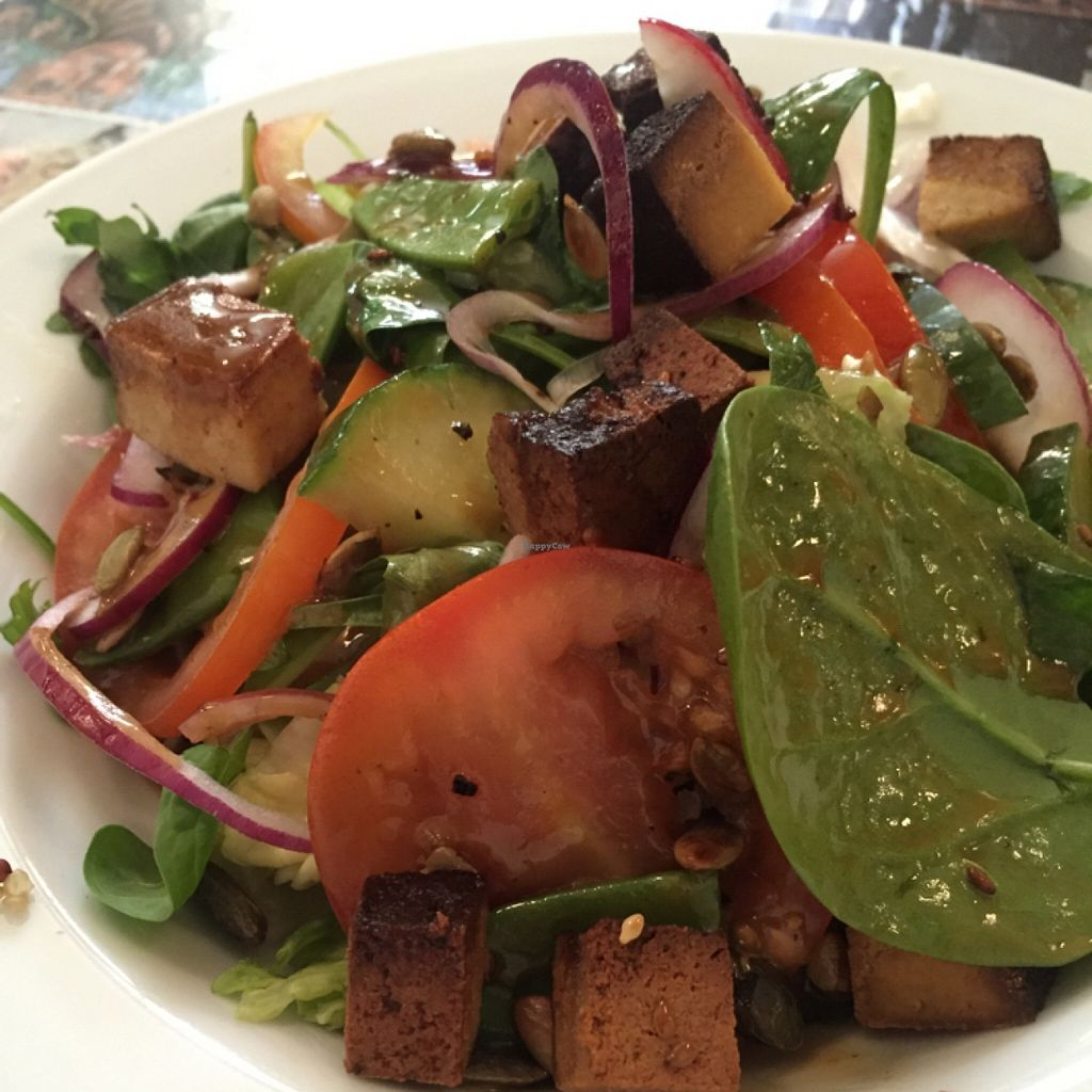 """Photo of Kafe 44  by <a href=""""/members/profile/happycowgirl"""">happycowgirl</a> <br/>tofu spinach salad <br/> May 11, 2016  - <a href='/contact/abuse/image/31758/148480'>Report</a>"""