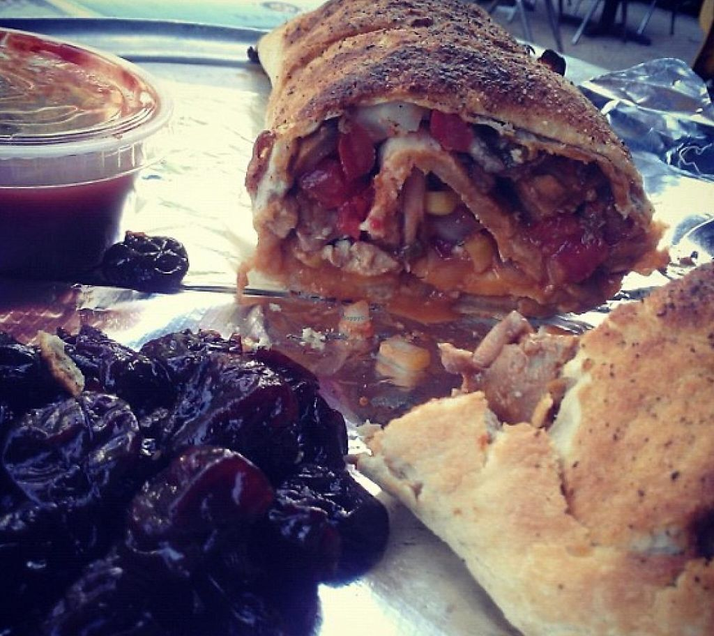 "Photo of Lilly's Pizza  by <a href=""/members/profile/meredith"">meredith</a> <br/>Vegan Stromboli - On the Menu at Lilly's <br/> January 9, 2014  - <a href='/contact/abuse/image/31765/215164'>Report</a>"