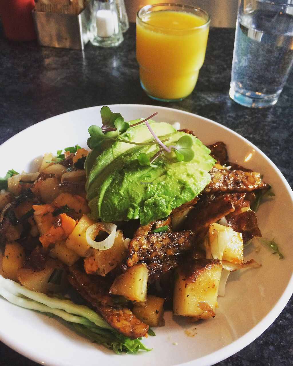 """Photo of Over Easy Cafe  by <a href=""""/members/profile/Brizzy09"""">Brizzy09</a> <br/>Seasonal veggie root hash with tempeh and avocado <br/> September 1, 2017  - <a href='/contact/abuse/image/3183/299585'>Report</a>"""