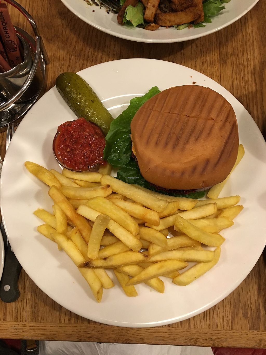 """Photo of The Laundromat Cafe  by <a href=""""/members/profile/MelG"""">MelG</a> <br/>Veggie Burger- veganized! They replace the mayo with hummus and swap out the brioche. Still very tasty! <br/> October 25, 2017  - <a href='/contact/abuse/image/31992/318750'>Report</a>"""