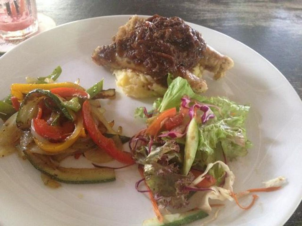 """Photo of Snap Cafe  by <a href=""""/members/profile/Kimxula"""">Kimxula</a> <br/>veg sausage and mash with side of ratatouille and salad <br/> November 17, 2014  - <a href='/contact/abuse/image/31998/85896'>Report</a>"""