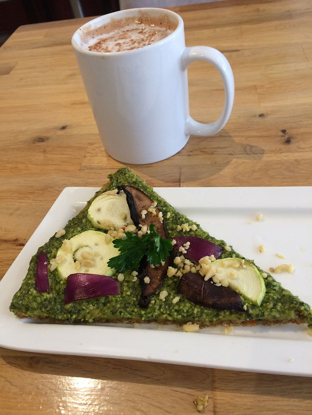 """Photo of Rawlicious  by <a href=""""/members/profile/MamaSinkins"""">MamaSinkins</a> <br/>Pesto pizza of the day & hot chocolate  <br/> February 7, 2018  - <a href='/contact/abuse/image/32001/356121'>Report</a>"""