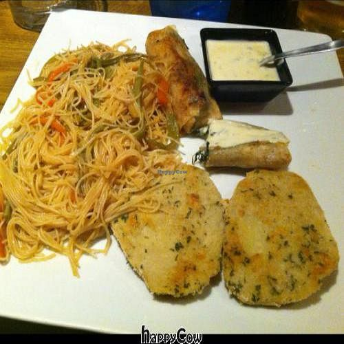 """Photo of Beti Boga  by <a href=""""/members/profile/EndikaW.Bush"""">EndikaW.Bush</a> <br/>Rice spaguetti, seitan, spinach roll and cheese sauce <br/> April 1, 2013  - <a href='/contact/abuse/image/32006/46376'>Report</a>"""