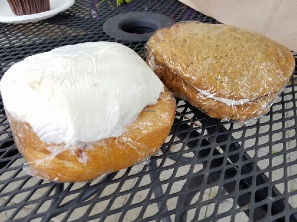 """Photo of Capital City Bakery  by <a href=""""/members/profile/EverydayTastiness"""">EverydayTastiness</a> <br/>cinnamon role and oatmeal pie cookie <br/> April 9, 2016  - <a href='/contact/abuse/image/32102/143665'>Report</a>"""