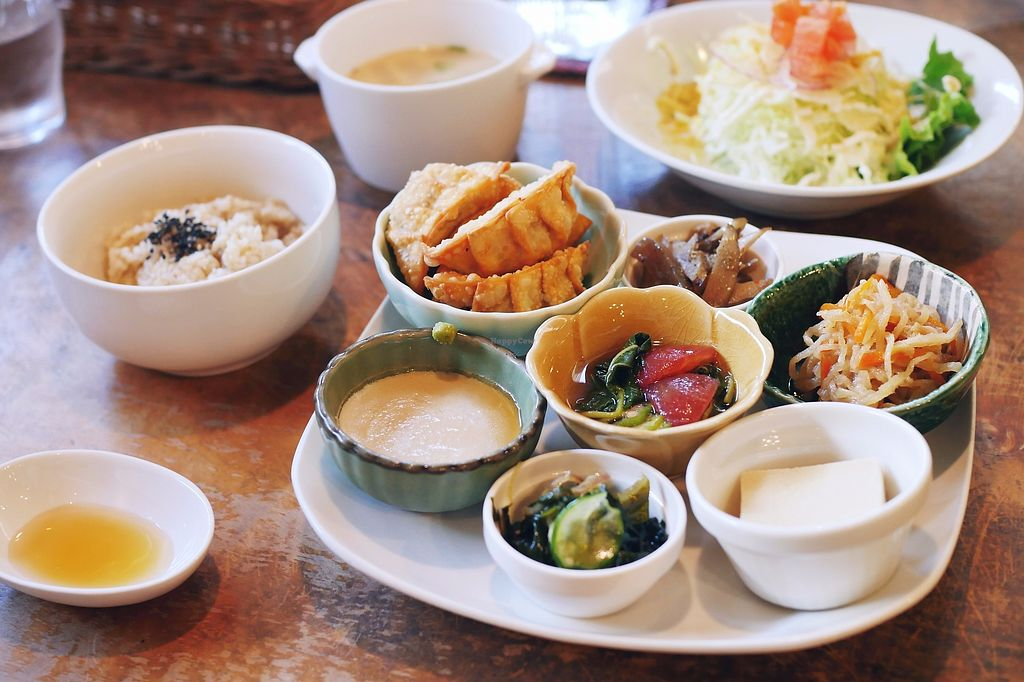 """Photo of Morpho Cafe  by <a href=""""/members/profile/YukiLim"""">YukiLim</a> <br/>Vegan set meal with fried gyoza and other side dishes.  <br/> July 16, 2017  - <a href='/contact/abuse/image/32107/281144'>Report</a>"""