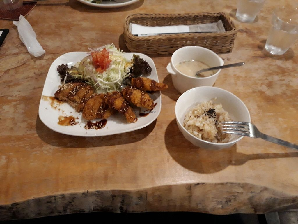 """Photo of Morpho Cafe  by <a href=""""/members/profile/satanastedamas"""">satanastedamas</a> <br/>soy meat plate <br/> November 3, 2017  - <a href='/contact/abuse/image/32107/321396'>Report</a>"""