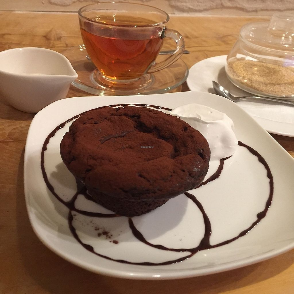 """Photo of Morpho Cafe  by <a href=""""/members/profile/giruja"""">giruja</a> <br/>Perfect chocolate cake with soy whipped cream, darjeeling tea and beet sugar <br/> March 20, 2018  - <a href='/contact/abuse/image/32107/373293'>Report</a>"""