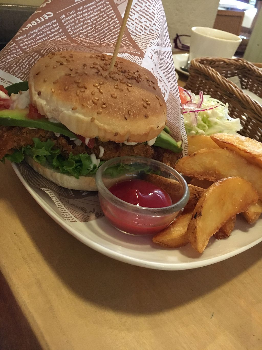 """Photo of Morpho Cafe  by <a href=""""/members/profile/VeganBec"""">VeganBec</a> <br/>Mmmm Fish Burger <br/> April 7, 2018  - <a href='/contact/abuse/image/32107/381867'>Report</a>"""