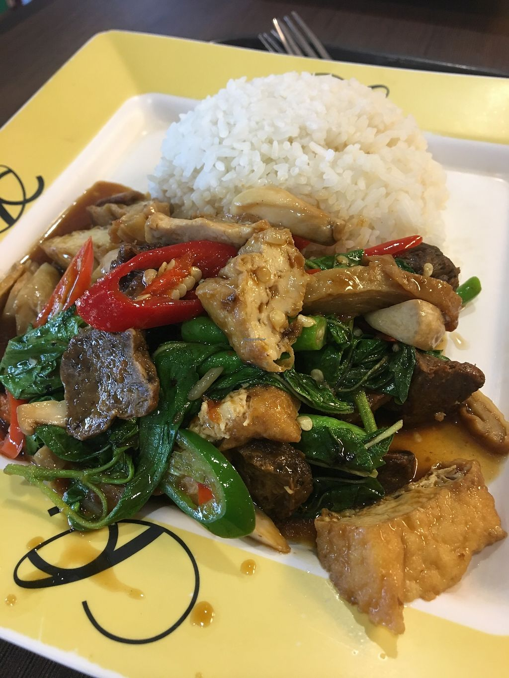 "Photo of Central World Mall - Talalask  by <a href=""/members/profile/sanluvegan"">sanluvegan</a> <br/>Pad kra pao (stir fry basil) <br/> January 10, 2018  - <a href='/contact/abuse/image/32117/345038'>Report</a>"