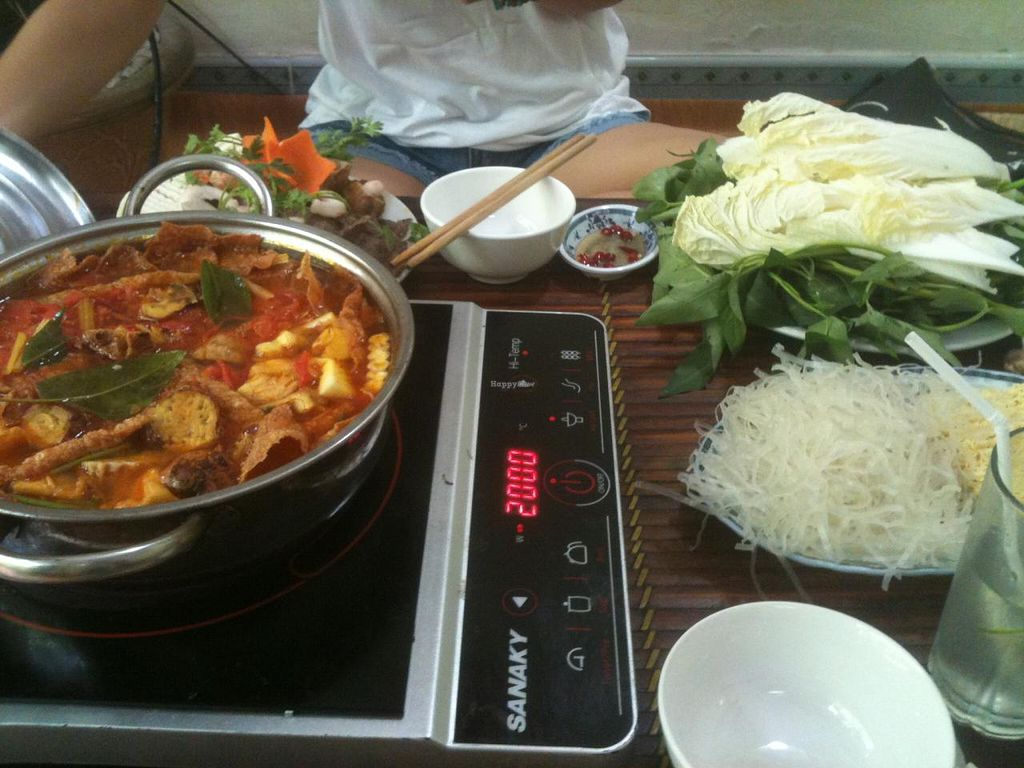 """Photo of An Phuc  by <a href=""""/members/profile/heloisepe"""">heloisepe</a> <br/>Thai hotpot : mock meat and even mock shrimps ! (190.000 VND for two people) <br/> July 5, 2015  - <a href='/contact/abuse/image/32126/108225'>Report</a>"""