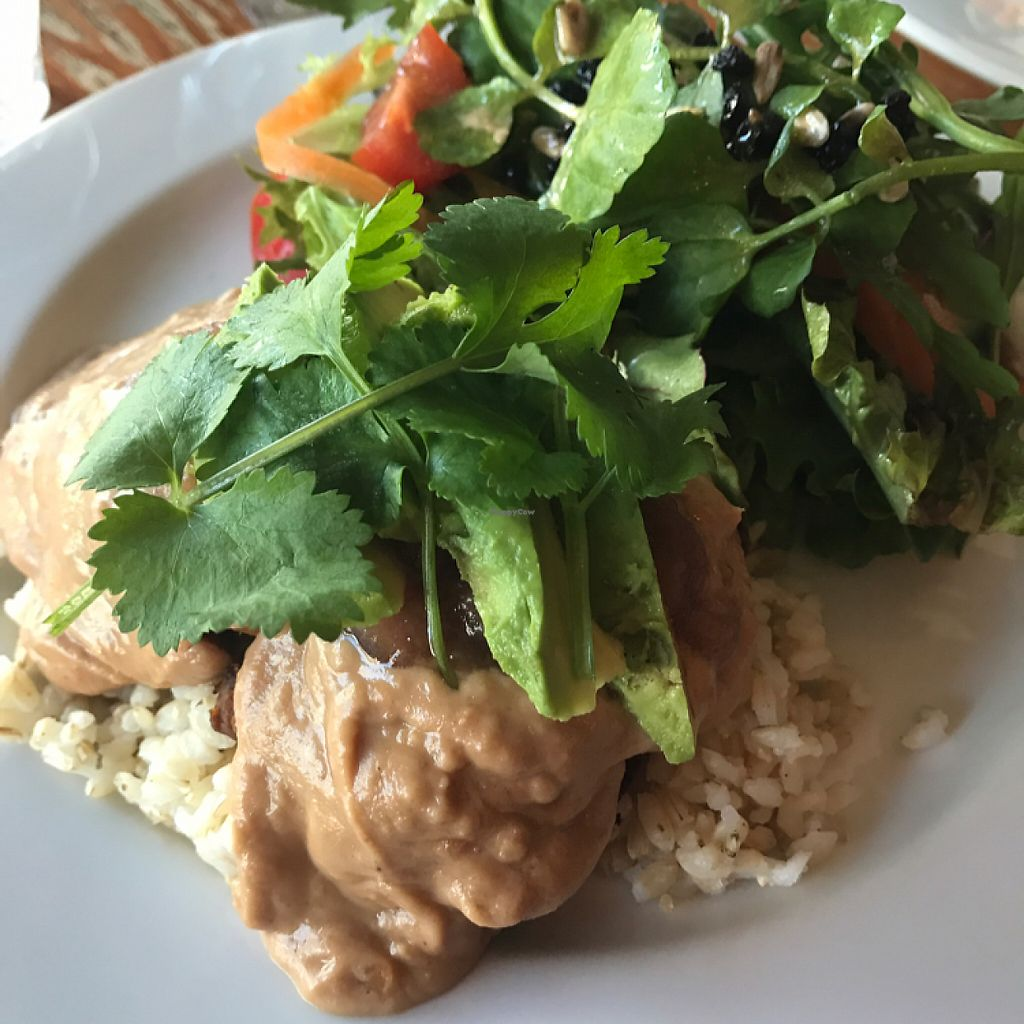 "Photo of One Earth Cafe  by <a href=""/members/profile/ayla.soso"">ayla.soso</a> <br/>Gluten-free vegan pan-fried tempeh with roast sweet potato, avocado, peanut sauce, chutney and salad <br/> May 15, 2017  - <a href='/contact/abuse/image/32178/259010'>Report</a>"