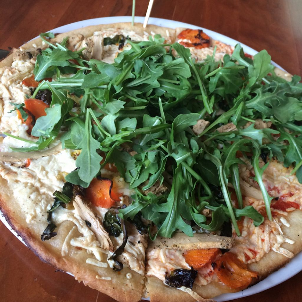 """Photo of Picazzo's Organic Italian Kitchen  by <a href=""""/members/profile/Brizzy09"""">Brizzy09</a> <br/>All Vegan Pizza with half red and half white sauce <br/> February 14, 2016  - <a href='/contact/abuse/image/32230/136307'>Report</a>"""