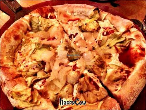 """Photo of Picazzo's Organic Italian Kitchen  by <a href=""""/members/profile/Ethan"""">Ethan</a> <br/>Small pizza with tomato sauce, vegan cheese, artichoke bottoms, sun-dried tomatoes, caramelized onions <br/> March 24, 2013  - <a href='/contact/abuse/image/32230/45963'>Report</a>"""