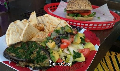 """Photo of Ocean View Delight  by <a href=""""/members/profile/anacampos"""">anacampos</a> <br/>Vegan Burger and the Ana Special(platter of marinated eggplant, avocado, olives, cucumber and homemade hummus!)  <br/> August 29, 2012  - <a href='/contact/abuse/image/32242/37143'>Report</a>"""
