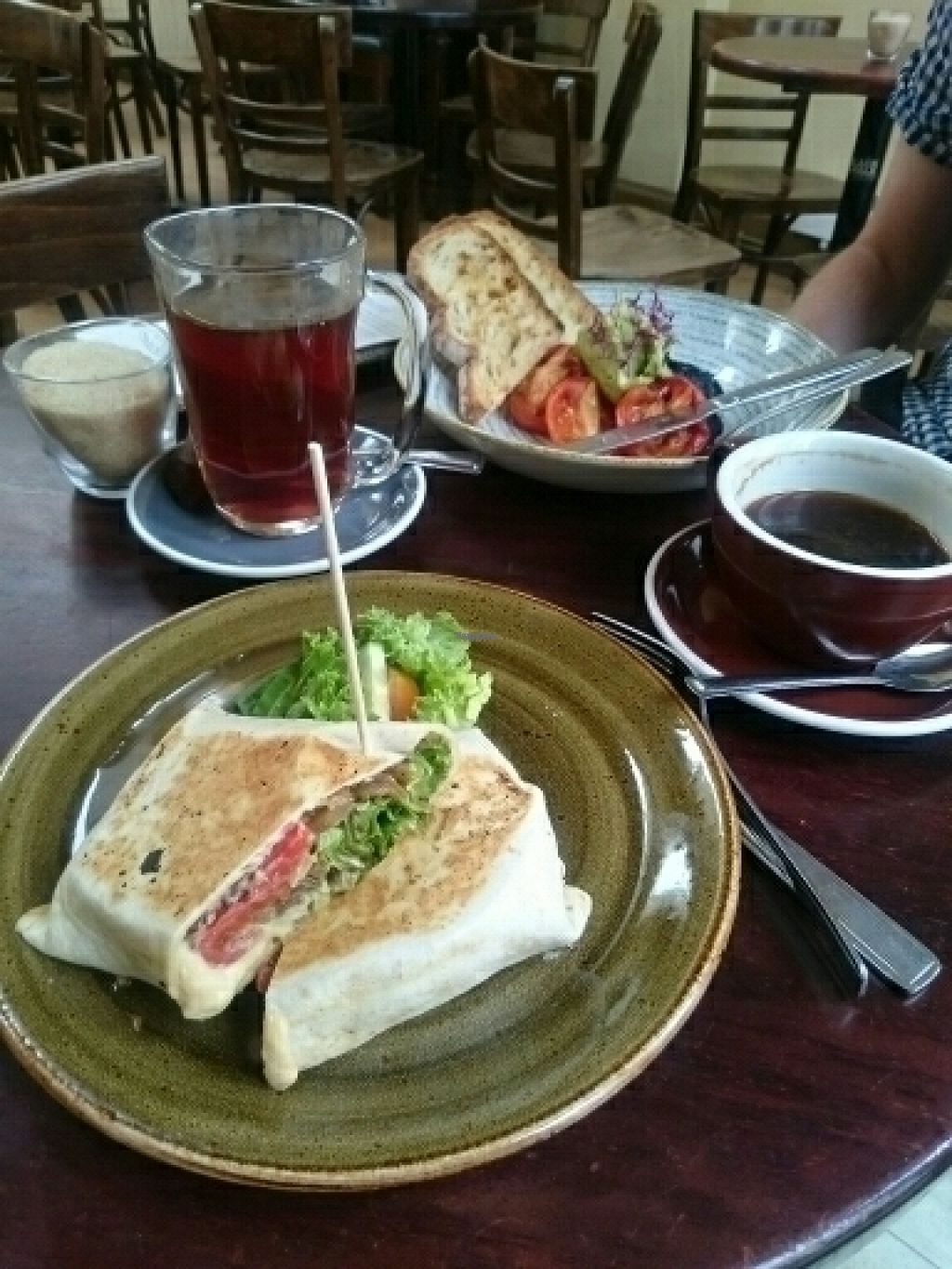"""Photo of Red Roaster  by <a href=""""/members/profile/CeciliaJohansson"""">CeciliaJohansson</a> <br/>Vegan wrap and veganised toast  <br/> August 14, 2016  - <a href='/contact/abuse/image/32246/168470'>Report</a>"""