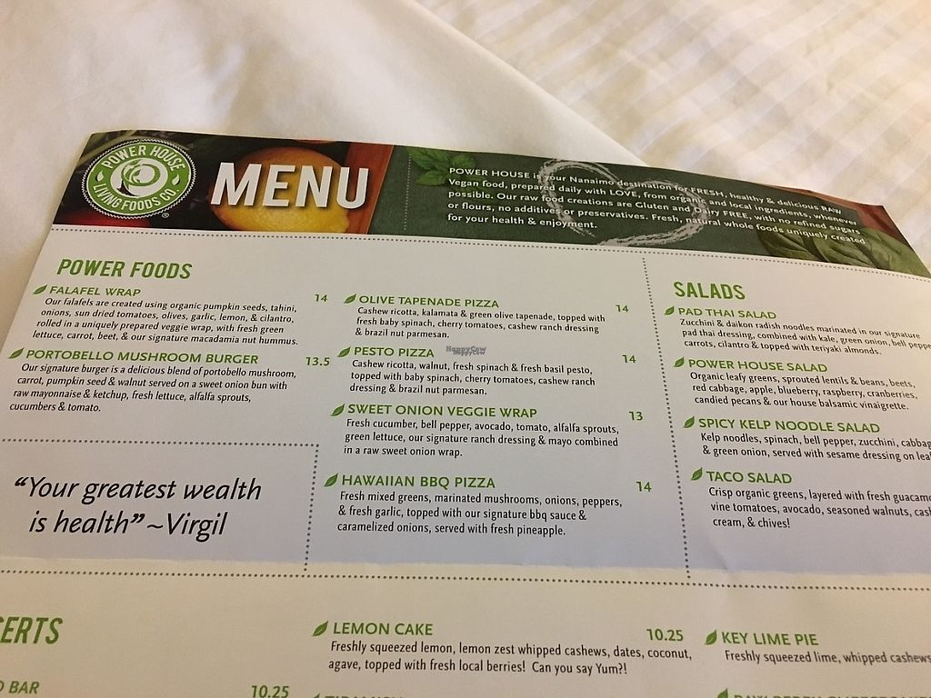 """Photo of Power House Living Foods  by <a href=""""/members/profile/vegan%20frog"""">vegan frog</a> <br/>Menu <br/> April 23, 2017  - <a href='/contact/abuse/image/32271/251353'>Report</a>"""