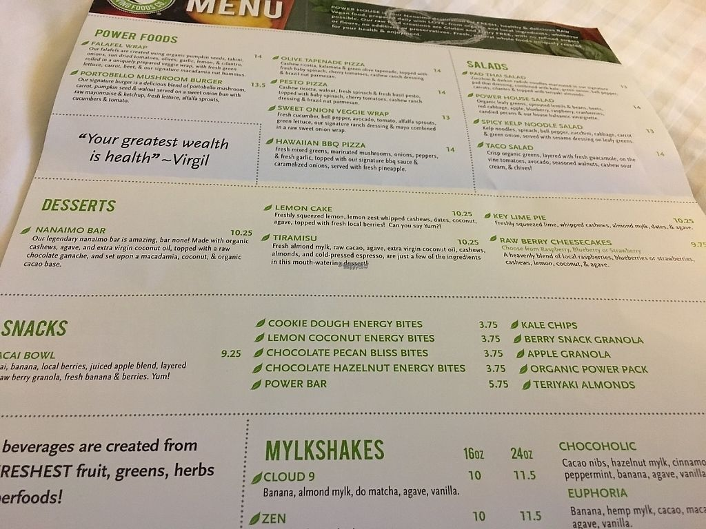 """Photo of Power House Living Foods  by <a href=""""/members/profile/vegan%20frog"""">vegan frog</a> <br/>Menu <br/> April 23, 2017  - <a href='/contact/abuse/image/32271/251355'>Report</a>"""