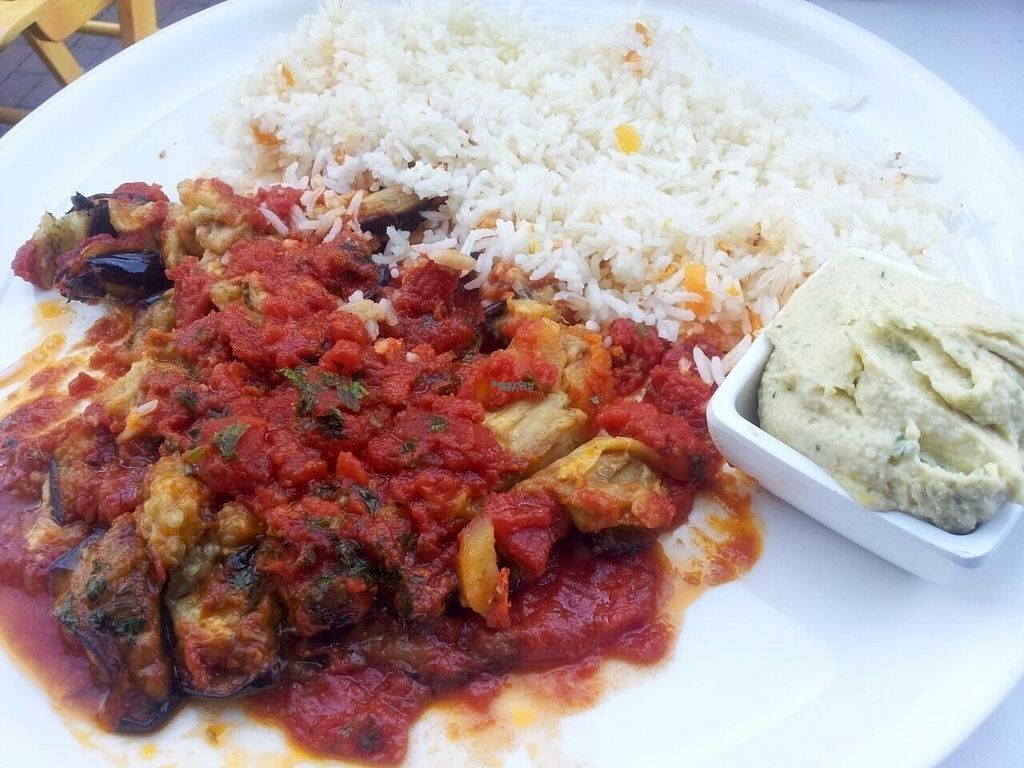 """Photo of Jetties  by <a href=""""/members/profile/happyowl"""">happyowl</a> <br/>Afghan dish with eggplant and potatoes, ordered with hummus instead of yoghurt <br/> August 20, 2016  - <a href='/contact/abuse/image/32320/170321'>Report</a>"""