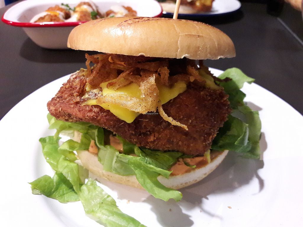 """Photo of V Rev Vegan Diner  by <a href=""""/members/profile/jennyc32"""">jennyc32</a> <br/>Chicken style burger <br/> March 17, 2018  - <a href='/contact/abuse/image/32339/371990'>Report</a>"""